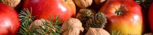 Weihnachtsgedeck mit nüssen äpfeln und tannenzweigen
