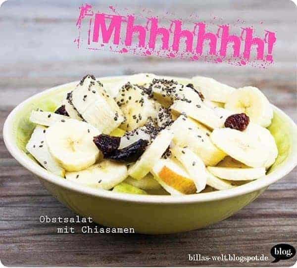 Obstsalat mit Chiasamen, Apfel und Banane