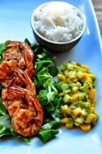 Garnelen Mit Mango-Salsa-Dip und Jasminreis