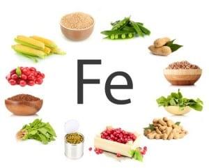 Kreisförmig angeordnete Lebensmittel mit dem Mineralstoff Eisen