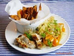 Süßkartoffelspalten mit Fenchelgemüse