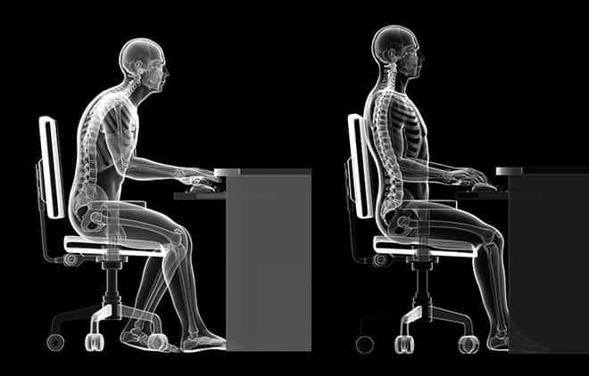 Zeichnng eines Mannes in falscher und in richtiger Haltung bei sitzender Tätigkeit