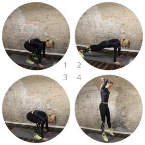 Die einzelnen Ausführungsschritte Burpees in vier Bildern dargestellt