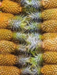 Ein Dutzend Gelbe Ananas mit Strunk