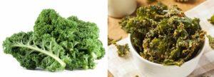 Grünkohlblätter und Grünkohlchips