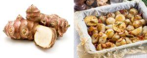 Topinambur als Knolle und auf einem Ofenblech