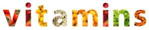 Schriftzug 'vitamins' mit verschiedenen Obst- und Gemüsesorten als Hintergrundfarben