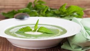 Grüne 9-Kräuter-Suppe in weißer Keramiksuppenschüssel