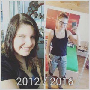 Vorher nachher Bild von Angela (2012 und 2016)