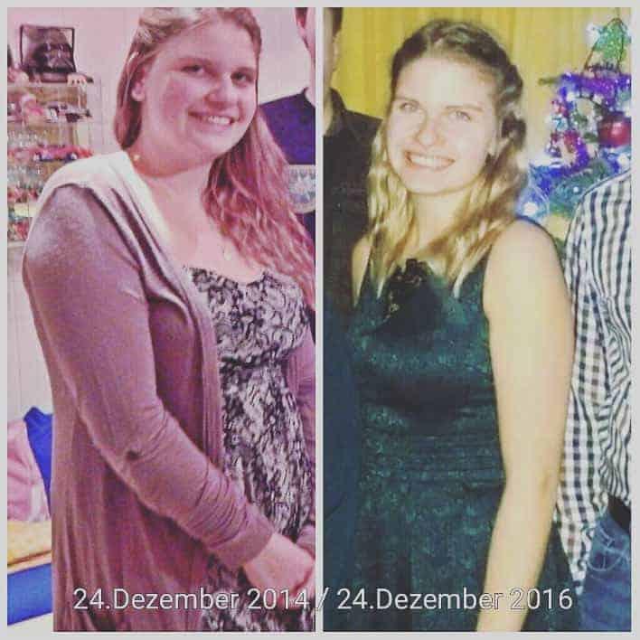 Vorher nachher Bild von Angela (2014 und 2016)