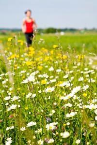 Eine Frau joggt über einen Feldweg mit Gräsern, die Heuschnupfen auslösen können.