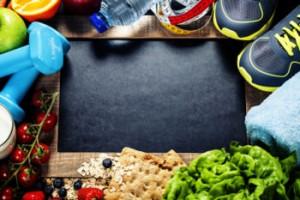 Sportmaterialien und gesunde Lebensmittel gehören zusammen