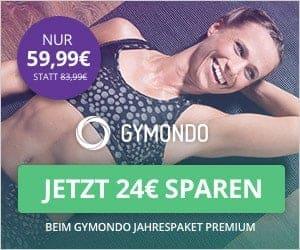 Frau glücklich auf Trainingsmatte mit Amazon Fire TV App Gymondo