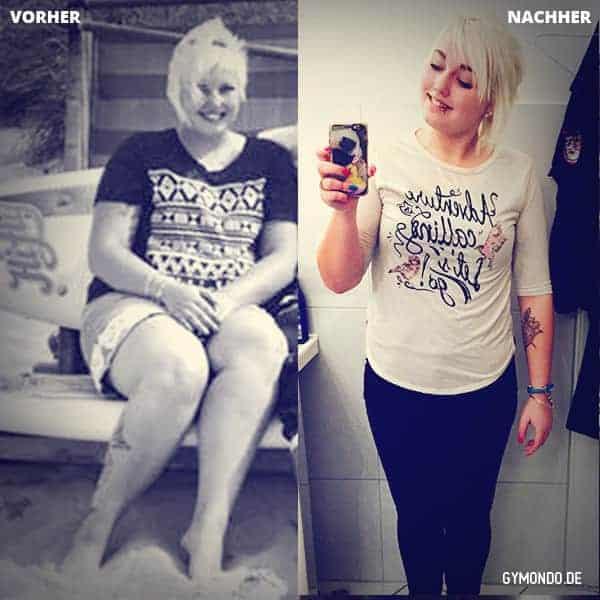 Schlank in 10 Wochen VOrher Nachher Bild von GYMONDO Mitglied Vanessa