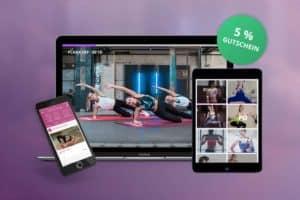 Tablet und Smartphones nebeneinander zeigen die Gymodo App grüner Kreis weist auf 5% Rabatt Gymondo Gutschein hin