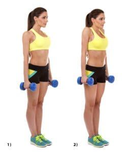 Sportliche Frau macht Übung Shrugs mit Kurshanteln