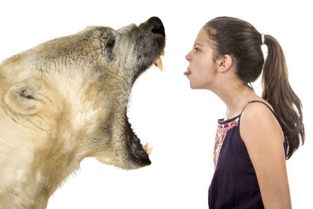 Junge Frau steht mutig brüllendem Eisbär gegenüber!