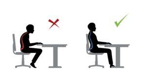 Grafik zeigt falsche Körperhaltung im Büro links und rechts eine gesunde Körperhaltung