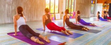 Junge Frauen auf bunten Yogamatten machen den heraufschauenden Hund aus dem Yoga