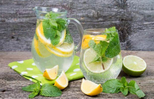Zwei Karaffen mit Mineralwasser, Zitronenscheiben und Minzblättern